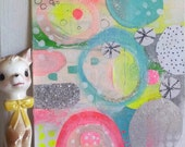 Abstract Art Abstract Painting Mixed Media collage Neon Pink Contemporary Art Expressive Geometric Glitter Silver