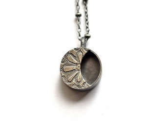 Sterling Silver Moon Necklace Hollow Form Full Crescent Moon