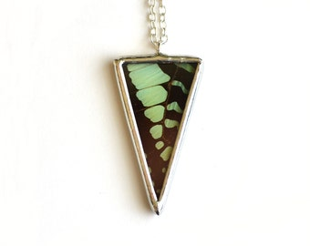 Real Butterfly Wing Necklace. Graphium Antheus Wing Spike Necklace. Wing Pendant. Geometric Triangle Pendant. Real Butterfly Wing Necklace