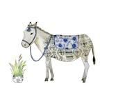 Horse Art Print, Burro Art, Donkey Art, Horse Watercolor Illustration Farmhouse Art, Children's Wall Art, Nusery Decor