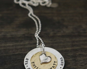 our love, actually handstamped name necklace