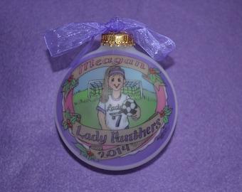 LITTLE SOCCER GIRL, Personalized Ornament, Handpainted, Customized, Keepsake Ornament