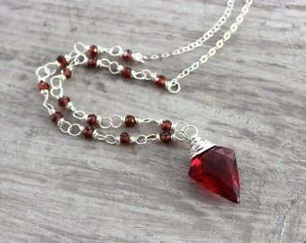 Red Garnet Necklace, Sterling Silver Necklace, Wire Wrap Necklace, Bright Red Necklace, January Birthstone Necklace, Ruby Red Necklace