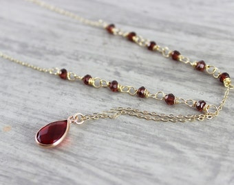 Ruby Red Necklace, Gold Fill Necklace, Teardrop Pendant Necklace, Dainty Chain Necklace, Garnet Gemstone Necklace, Dark Red Necklace