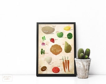 Veggies, french fruits and vegetables - large poster art print