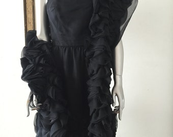 I Magnin 1960s Little Black Party Dress with Organza Flower Shawl