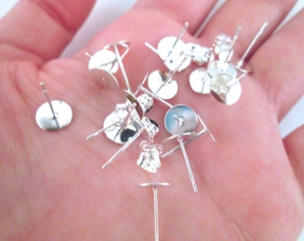 8mm flat pad silver plated ear studs with ear nuts, pick your amount, C200
