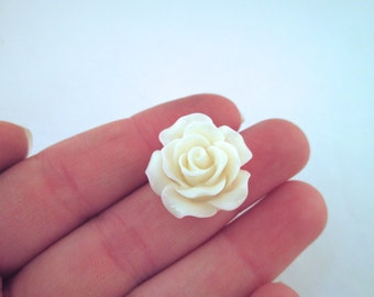 10 Ivory Rose Cabochons 20mm