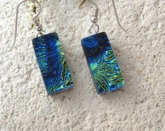 Petite Dichroic Glass Earrings, Dichroic Earrings, Dangle Drop Earrings, Blue Green Earrings, Fused Glass Jewelry, Sterling, 083116e100