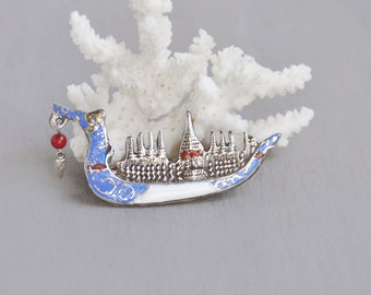 Vintage Sterling Silver Siam Brooch -  enameled Thai dragon boat pin - blue white red enamel with bead flame charm
