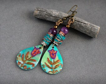 Artisan earrings. Bohemian colorful dangle earrings. Woodland style. Nature inspired. Wire wrapped purple green quartz brass handmade beads