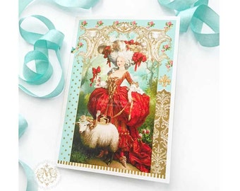 Marie Antoinette card, high tea, French vintage Rococo style, blank inside