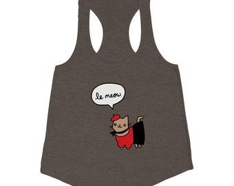 French Cat Tank Top Le Meow T Shirt Women's American Apparel Tri Blend Tank