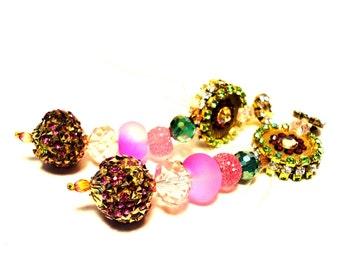 Exquisite rhinestine decorated clip earrings, multicolor