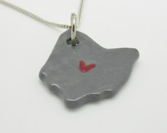 Gray Ohio Columbus Heart Necklace Glazed Ceramic on an 18 inch Silver Chain