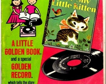 Vintage 1946 Little Golden Book and a 45 rpm Record Read and Hear The Shy Little Kitten Narrated by Kay Lande