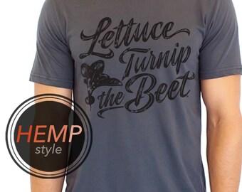 2XL lettuce turnip the beet ® trademark brand official site - grey HEMP and ORGANIC cotton shirt with cursive logo