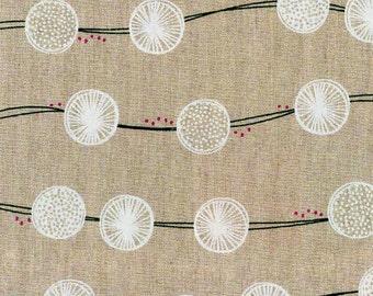 HALF YARD - Tayutou by Fabrica Uka - Root Crop - Natural- 45/55 Cotton/Linen Blend Canvas- Kokka - Japanese Import