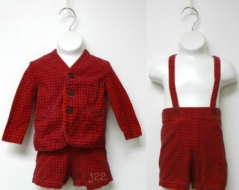 WINNIE THE POOH . vintage 2 piece red corduroy jumper shorts and jacket . size 2t