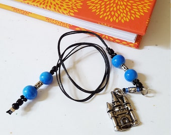 Castle Beaded Bookmark/ Blue And Silver/ Glass And Metal Beaded Cord With Metal Charm/ Handmade Fairytale Book Thong/ Journal Marker