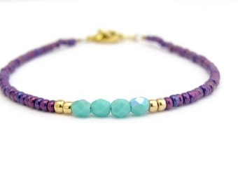 Turquoise Bracelet, Purple Seed Beads, Color Block Beaded Bracelet, Stacking Layer Minimal Friendship Bracelet, Czech Glass Jewelry