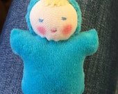 Waldorf Doll, Sky Blue Pocket baby, German dolls, Pocket doll, Waldorf Toy