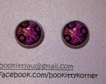 Doctor Who - Purple Gallifreyan Time Lord Symbols 12mm Stainless Steel Stud Earrings