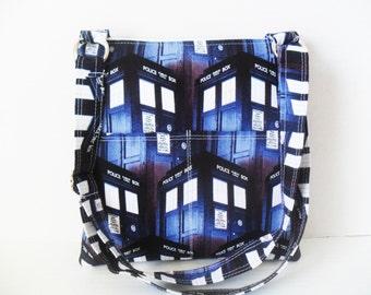 Doctor Who Crossbody Bag - Sling messenger bag - Doctor Who - Messenger Bag - Ipad Bag - Dr Who Bag - Tardis - Tablet Case - Zipper Case