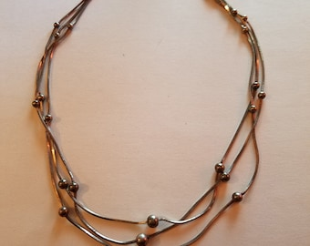 Vintage Sterling Silver Multi Chain Beaded Necklace 16 Inches