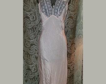 Vintage 1940's Light Pink Floor Length Nightgown Small Medium