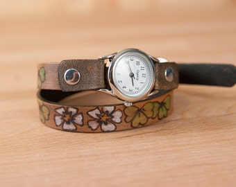 Ladies Leather Watch - Handmade Skinny Double Wrap Watch in the Lucky pattern with flowers, shamrocks and four leaf clovers