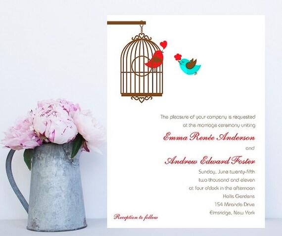 Cute Wedding Invitations - Quirky Wedding Invitation - Lovebird Wedding Invitation - Sweet Wedding Invitation