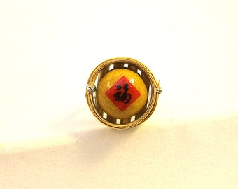 Traditional Chinese Good Fortune Cookie Ring, Miniature Food Ring, Asian Food Ring, Asian Food Jewelry, Chinese Food Jewelry, Pastry Jewelry