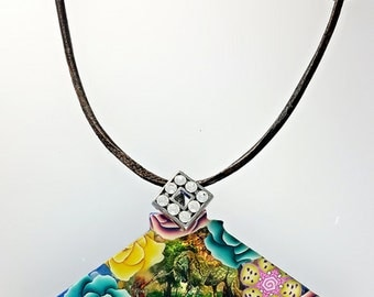 Mermaid and Unicorn Jewelry, Polymer Clay Fan Necklace, Fan Lovers, Fantasy Fan Jewelry, Fantasy Nature Necklace, Mermaid Clay Pendant