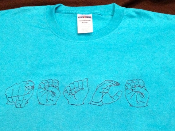 Asl embroidered name t shirt custom made to order small xl