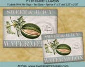 Instant Download - Digital Label Sheet - Sweet Juicy Watermelon - Printable PDF and/or JPG File