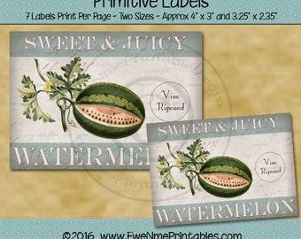 Instant Download - Digital Label Sheet - Sweet Juicy Watermelon - Printable PDF and/or JPG File
