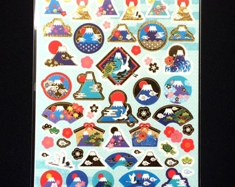 Mount Fuji  Stickers - Japanese Washi Stickers - Traditional Japanese Stickers -  New Year Symbols Stickers S99