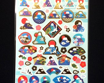 Mount Fuji  Stickers - Japanese Washi Stickers - Traditional Japanese Stickers -  New Year Symbols Stickers S105