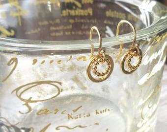 Gold Circle Drop Earrings - Small Circle Drops - Round Drop Earrings - Gold Loop Earrings