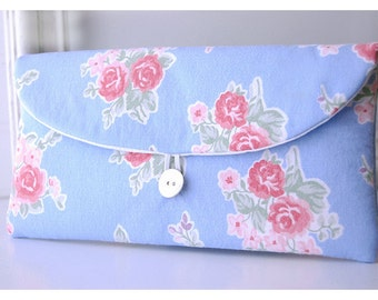 Bridesmaids Clutch purse Faded blue pink rose Tommy Hilfiger Bridal Wedding Shabby chic bag Gift Giving Make Up Travel Gadget Gift Under 25