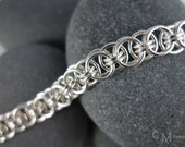 For Him or Her - Helm Weave Chainmaille Bracelet - Sterling Silver Chainmail - Ready to Ship Maille - 10% loaned through Kiva.org