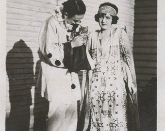vintage photo 1915 Young Costume Queen & Her Clown w Cat Embroidered APron