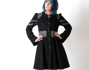 Flared black coat, Black winter wool coat with lace print details, Black womens coat, womens winter coat, womens clothing, MALAM