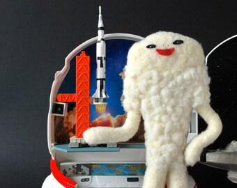 Print: Fluffy Jamila - felt plush needlefelt photo graphic wall decor art digital kaiju sic-fi toy japan retro