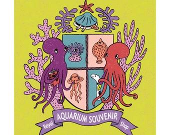 Print: The Royal Aquarium Souvenir Shop Crest (yellow) - Illustration Art Octopus emblem Nautical Nature Sea Ocean Creature  Fish Jellyfish