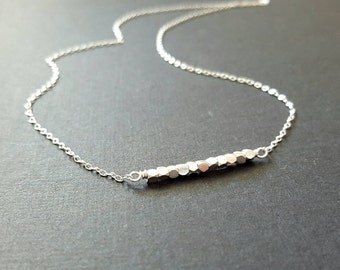Tiny sterling silver minimalist necklace with faceted sterling silver beads