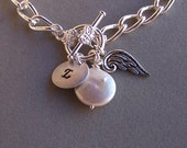 Monogram Charm Bracelet - Angel Charm, Stamped Disc, Coin Pearl, Name Jewelry, Name Bracelet, Pearl Bracelet, Bridal Jewelry