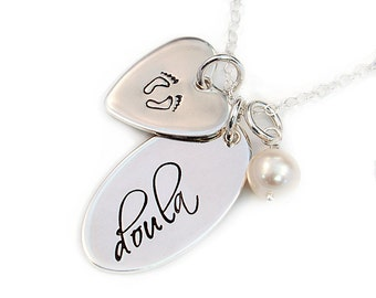 Doula Necklace, Gift for Doula, Handstamped Sterling Silver, Doula Gift