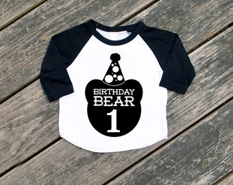Size 2 Birthday Bear with One Black Raglan Sleeve Baseball TShirt with Black Print - Infant and Kids Sizes - First Birthday Party Gift